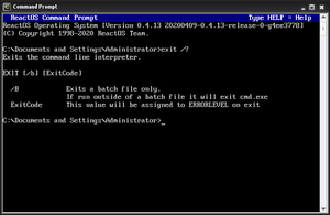 The ReactOS exit command