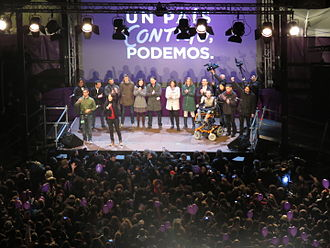 Spanish general election, 2016 - Podemos celebrating its election result on 20-D.