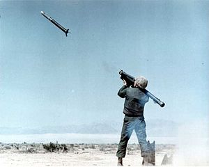 Man-portable air-defense system - An FIM-43C Redeye missile just after launch, before the sustainer motor ignites