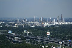 Refinery of Slovnaft, view from Nový most viewpoint in Bratislava, Bratislava II District.jpg