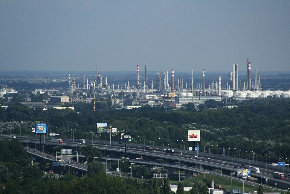Refinery of Slovnaft, view from Nový most viewpoint in Bratislava, Bratislava II District