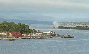 Regatta Point, Tasmania -  Regatta Point from the north - West Coast Wilderness Railway train in steam