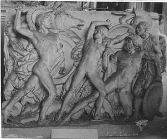 Mezentius - Mezentius wounded, preserved by his intrepid son Lausus, first prize of the Prix de Rome by Louis-Léon Cugnot, 1859