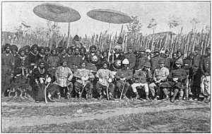 Manipur (princely state) - The princes of Manipur, Col. Johnstone, Thangal Major and the European officer in Kohima after relieving the fort from the siege of the Nagas, 1880.
