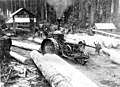 Remington steam tractor yarding logs, Snohomish, Washington, 1891 (INDOCC 257).jpg