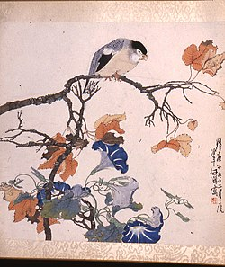 Ren Bonian - Bird on Maple Branch with Morning Glories - Walters 35101J.jpg