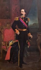 Pictură în ulei care îl înfățișează pe regele Portugaliei, Ferdinand al II-lea, în lungime și în costum ceremonial complet.