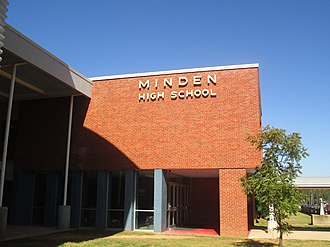 Minden High School (Minden, Louisiana) - Traditional Richardson Street entrance to Minden High School