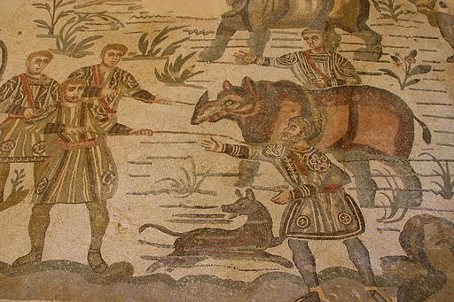 Rhyno - Big Game Hunt mosaic - Villa Romana del Casale - Italy 2015