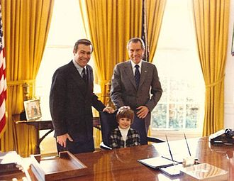 Donald Rumsfeld - Rumsfeld with his son, Nick, in the Oval Office with President Nixon, 1973