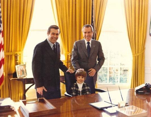 Richard Nixon and Donald Rumsfeld with son Nick