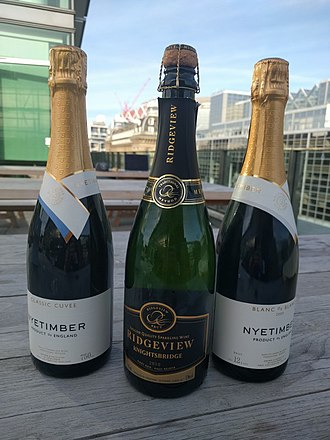English sparkling wine - Bottles of Ridgeview and Nyetimber, English sparkling wines produced in Sussex.