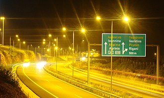 European route E55 - E55 near Agrinio, Greece.