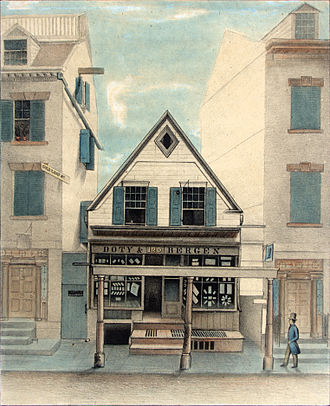 New Amsterdam - The Rigging House at 120 William Street, the last remaining Dutch building of New Amsterdam. Built in the 17th century, it became a Methodist church in the 1760s and became a secular building again before its destruction in the mid-19th century.