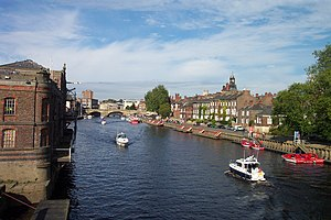 River Ouse, Yorkshire - The River Ouse in the city of York, viewed from Skeldergate Bridge with Ouse Bridge in the background