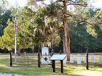 Rivers Bridge State Historic Site - Image: Rivers Bridge Confederate Cemetery with Flag