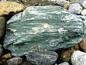 Greenschist - Prasinite variety of greenschist (Mont-Cenis massif, French Alps)