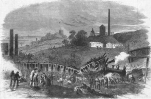 Round Oak rail accident - 1858 print of 'The Accident on the Oxford and Worcester Railway, near Round Oak Station'
