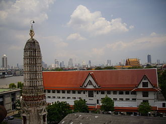 Thonburi Kingdom - Phra Racha Wang Derm, the former royal palace of King Taksin, now used as the Royal Thai Navy's HQ, view form Phra Prang of Wat Arun, Thonburi, Bangkok.