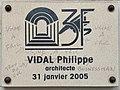 Rue Julien Duvivier (Lyon) - plaque d'architecte Philippe Vidal (2005).jpg