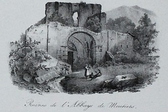 Moutier-Grandval Abbey - Ruins of the Moutier Abbey, circa 1830s, by Godefroy Engelmann