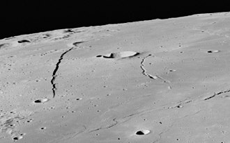 Birt (crater) - Oblique view of Rupes Recta (left), Birt (center), and Rima Birt (right), from Apollo 16