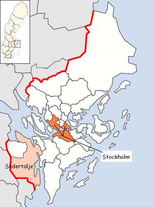 Södertälje - Location of Södertälje Municipality in the Stockholm County.