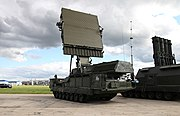 9S15M Obzor-3 round sight acquisition radar.