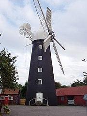 Fünfflügelige, linksdrehende Windmühle Dobson, Burgh le Marsh, England