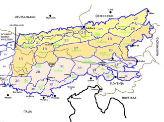 SOIUSA - SOIUSA eastern Alps' sections.