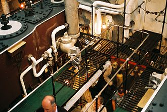 SS Shieldhall - Passengers can go down into the engine room between the two steam engines.