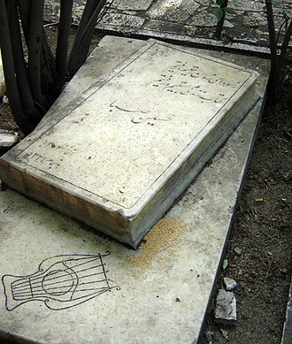 Abolhasan Saba - The graveside of Saba is prohibited from visitor access. His father's tomb in the same cemetery, seen here, is open to the public. The cemetery is located in Darband, Shemiran, Tehran.