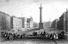 Artwork of statue of Nelson on top of a Doric column in a broad street lined with buildings, with pedestrians and horses and cart on a bridge in the foreground
