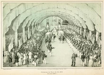 The coronation of Faustin I of Haiti in 1849 Sacre de l'empereur Faustin Soulouque.jpg