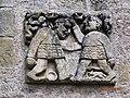 Saint-Blaise de La Celle, Cher, 12e siècle, bas-relief de la façade, pré-roman, baptême du Christ.jpg