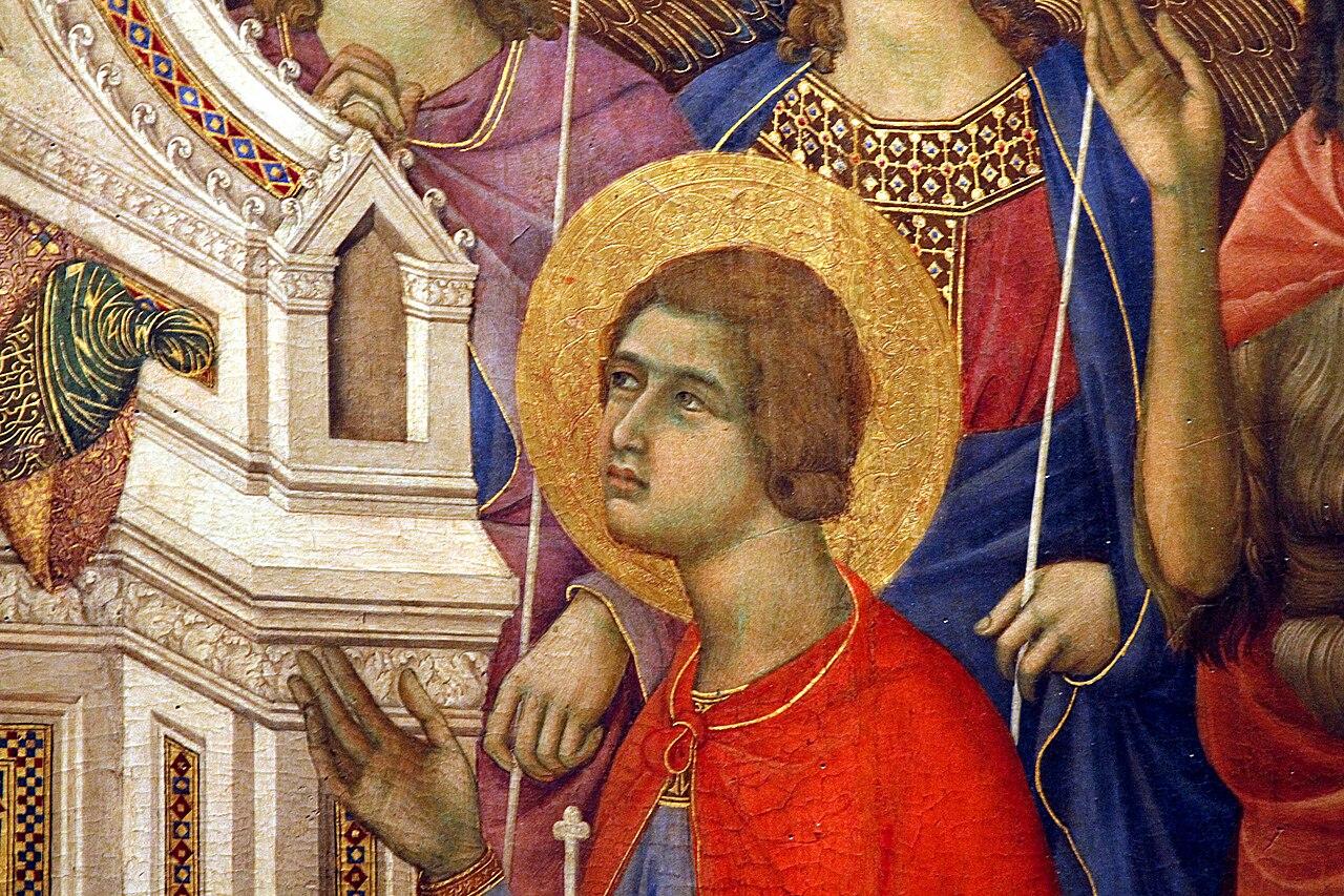 Duccio di Boninsegna, Maestà del Duomo di Siena (1308-1311), particolare San Crescentius