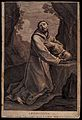 Saint Francis of Assisi in wilderness, holding a skull, Wellcome V0032050.jpg