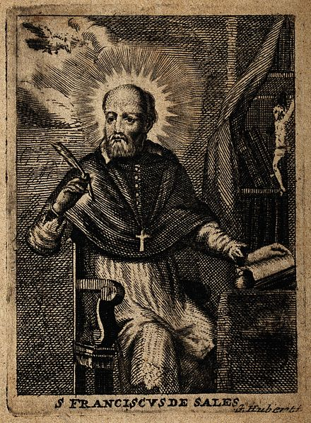 File:Saint Francis of Sales; seated at a table, holding a quill. Wellcome V0032002.jpg