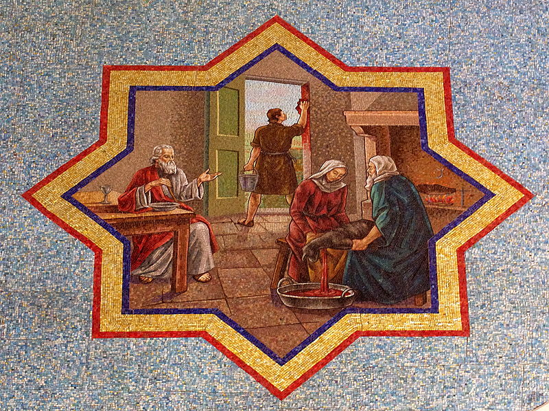 File:Saint Mary Magdalene Church (Columbus, Ohio) - mosaic, Israelites apply blood of the paschal lamb to the doorpost.jpg