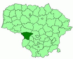 Location of Šakiai district municipality within Lithuania