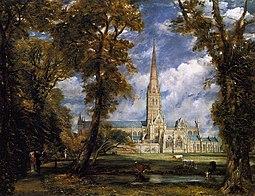 Catedral de Salisbury en una obra de 1825.