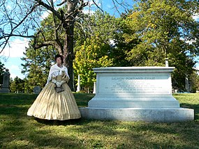 Grave of Salmon Chase in Spring Grove Cemetery; a docent is dressed in period clothing. SalmonChaseGrave - cropped.jpg
