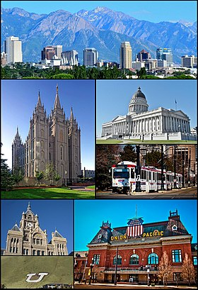 Frae top left: The skyline in Julie 2011, the Salt Lake Temple, Utah State Capitol, UTA TRAX, the Ceety an Coonty Biggin, Union Pacific Depot an the Block U.