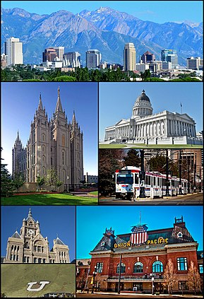 Clockwise from top: The skyline in July 2011, Utah State Capitol, TRAX, Union Pacific Depot, the Block U, the City-County Building, and the Salt Lake Temple