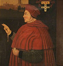 Portrait of Cardinal Wolsey showing the cardinal and his new college