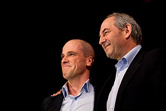 Leader of the Labour Party (Netherlands) - Newly elected Leader Diederik Samsom and former Leader Job Cohen at a party conference on 21 March 2012.