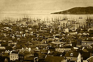 California Gold Rush - Merchant ships fill San Francisco harbor, 1850–51