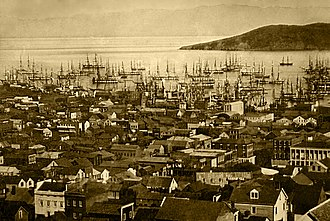 History of San Francisco - San Francisco harbor in 1850 or 1851. During this time, the harbor would become so crowded that ships often had to wait days before unloading their passengers and goods.
