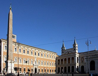 Lateran Palace - St. John in Lateran square with the Lateran Palace (left) and the Archbasilica of St. John Lateran (right) and the Obelisk of Thutmosis III in front