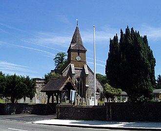 Grade I and II* listed buildings in the London Borough of Croydon - Image: Sanderstead Church geograph.org.uk 19905